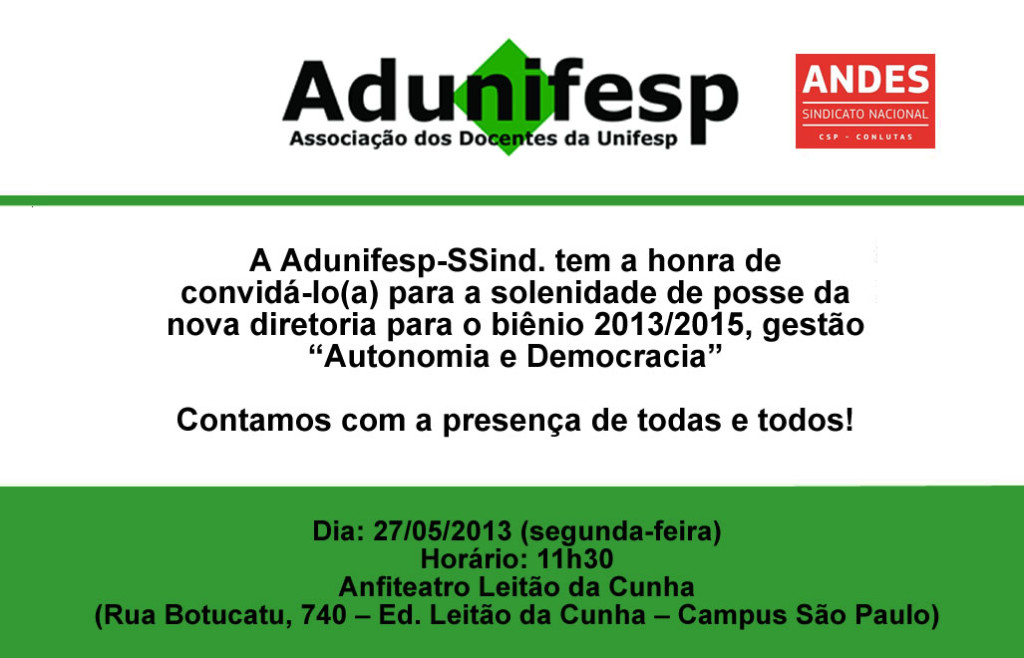 Convite Adunifesp - posse 2013